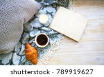 cup of coffee  croisan and book ...   Shutterstock . vector #789919627
