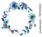 watercolor wreath with flowers  ... | Shutterstock . vector #789925033