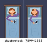 sleepless woman face cartoon... | Shutterstock .eps vector #789941983