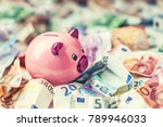 piggi bank and euro banknotes.   Shutterstock . vector #789946033