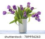 purple tulips in a vase on...   Shutterstock . vector #789956263