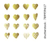 vector gold hand drawn set with ... | Shutterstock . vector #789959617