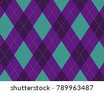 purple and aqua argyle... | Shutterstock .eps vector #789963487