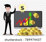 bitcoin concept .business man... | Shutterstock .eps vector #789974437