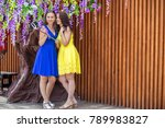two young women girlfriends in... | Shutterstock . vector #789983827