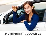happy female driver showing car ... | Shutterstock . vector #790002523