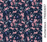 watercolor spring vintage... | Shutterstock . vector #790033057