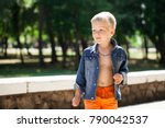 portrait of a young boy in a... | Shutterstock . vector #790042537