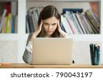 focused concerned student... | Shutterstock . vector #790043197