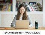 smiling girl using laptop ... | Shutterstock . vector #790043203