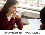 nervous stressed female... | Shutterstock . vector #790043263