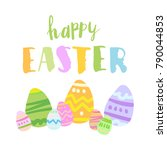 happy easter card template with ... | Shutterstock .eps vector #790044853