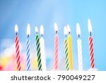 birthday candles on blue... | Shutterstock . vector #790049227