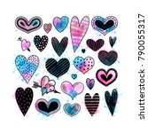 set with hearts. freehand... | Shutterstock .eps vector #790055317