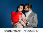 girlfriend holding heart shaped ...   Shutterstock . vector #790058047