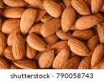 almonds background. fresh peel...   Shutterstock . vector #790058743