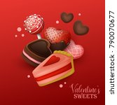 valentine s day background with ... | Shutterstock .eps vector #790070677