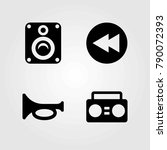multimedia vector icons set.... | Shutterstock .eps vector #790072393