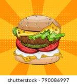 classic burger on a pop art...