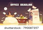 office piles of paperwork... | Shutterstock .eps vector #790087357