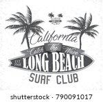 vintage surfing tee design.... | Shutterstock .eps vector #790091017