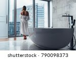 back view of young woman...   Shutterstock . vector #790098373