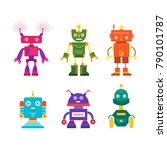 vector set of modern robot... | Shutterstock .eps vector #790101787