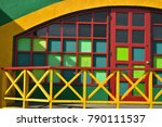 colorful painted window squares ... | Shutterstock . vector #790111537