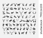 silhouette of a deer icon set.... | Shutterstock .eps vector #790116103