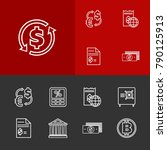 finance icons set with tax...