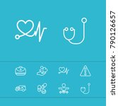 aid family icons set with...   Shutterstock . vector #790126657