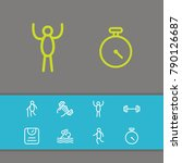 exercise icons set with scales  ... | Shutterstock .eps vector #790126687