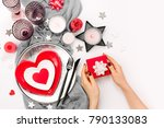 valentines day table setting.... | Shutterstock . vector #790133083