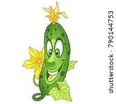 cartoon cucumber character.... | Shutterstock .eps vector #790144753