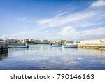 white sail boats moored at... | Shutterstock . vector #790146163