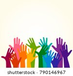 colorful up hands. vector... | Shutterstock .eps vector #790146967