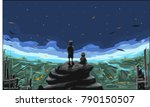 two boys are on rocks and are... | Shutterstock .eps vector #790150507