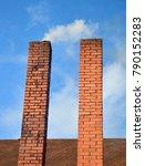 brick chimneys on blue sky... | Shutterstock . vector #790152283