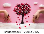 a woman's hand and a man's hand ... | Shutterstock . vector #790152427