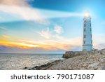 lighthouse searchlight beam...   Shutterstock . vector #790171087