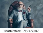 cool man in glasses  hold... | Shutterstock . vector #790179607