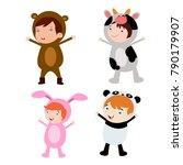 cute little kids wearing animal ... | Shutterstock .eps vector #790179907