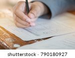 students concentration holding... | Shutterstock . vector #790180927