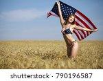 young beautiful blonde woman in ... | Shutterstock . vector #790196587