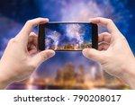 traveler holding smartphone to...   Shutterstock . vector #790208017