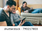 young father looking at the... | Shutterstock . vector #790217803
