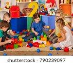 children building blocks in... | Shutterstock . vector #790239097