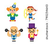 circus characters icon set.... | Shutterstock .eps vector #790254643