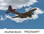 Small photo of READING, PA - JUNE 3, 2017: Boening B-17G Flying Fortress 'Yankee Lady' in flight during World War II reenactment at Mid-Atlantic Air Museum