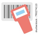 barcode scan flat colored icon  | Shutterstock .eps vector #790274113